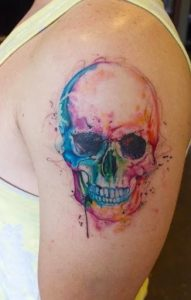 watercolor 5 - skull on arm